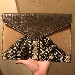 Rebecca Minkoff envelope clutch suede leather